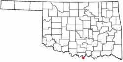 Location of Thackerville, Oklahoma