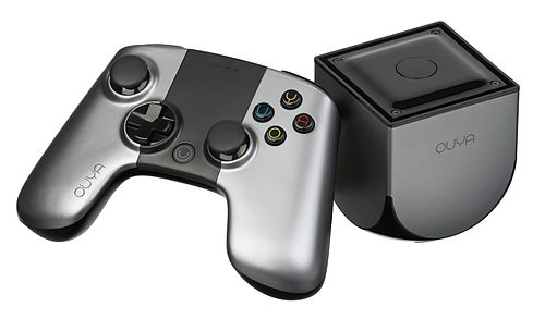 The OUYA is an inexpensive microconsole based on the Android-OS OUYA-Console-set-h.jpg