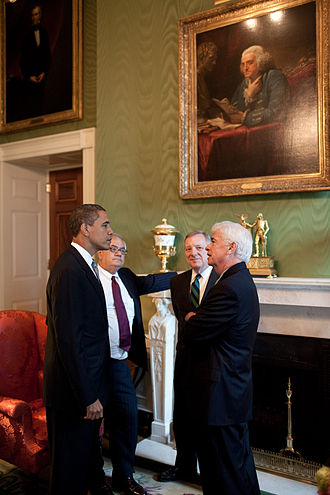 Dodd–Frank Wall Street Reform and Consumer Protection Act - President Barack Obama meeting with Rep. Barney Frank, Sen. Dick Durbin, and Sen. Chris Dodd, at the White House prior to a financial regulatory reform announcement on June 17, 2009.