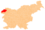 Map of Slovenia, position of Bovec highlighted