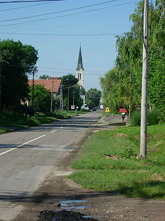 Bečej - Street in Bečej and The Saint Anthony Padovanian Catholic Church