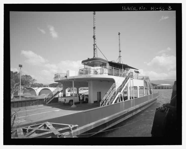 File:Oblique exterior view from seawall - U.S. Naval Base, Pearl Harbor, Delaware Valley, Docked off Hornet Avenue, Pearl City, Honolulu County, HI HAER HI-56-3.tif