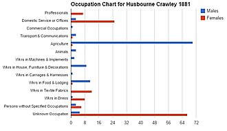 Husborne Crawley - A chart showing the occupations of the population in Husbourne Crawley through genders in the year 1881, as reported by the VisionofBritain website