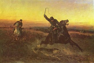 Wolf hunting - A Russian wolf hunt, as portrayed on The wolf hunting by Nikolai Sverchkov, 1862