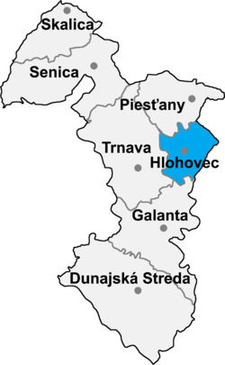Location of Hlohovecas apriņķis