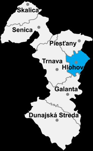 Červeník - Location of Hlohovec District in the Trnava Region