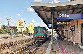 Olbia railway station - The main platform and station yard.