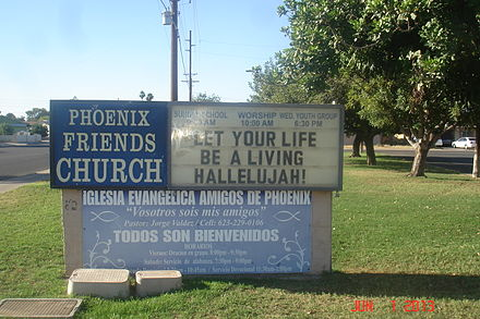 Sign at entrance of Phoenix Friends Church Old Camara 038.JPG