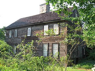 History of Darien, Connecticut - The ca. 1700 Pond-Weed House saltbox is located on the Post Road in Noroton and is the oldest home in town