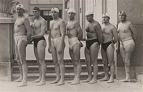 Olympic gold medalist hungarian water polo team (1932, Los Angeles).jpg