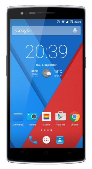 OnePlus One - The front face view of the Black OnePlus One running CyanogenMod 11S