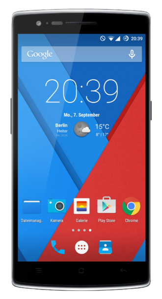"""OnePlus One - The front face view of the OnePlus One (""""Sandstone Black"""", 64 GB) running Cyanogen OS 12"""