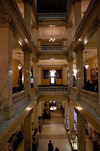 Ontario Legislative Building - Interior of the building's east wing (left) and west wing (right).