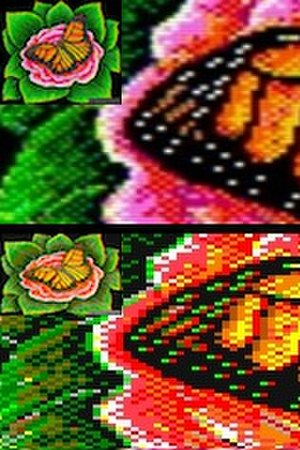 Composite artifact colors - Example of artwork created with the intent of having individual pixel values horizontally averaged over composite video