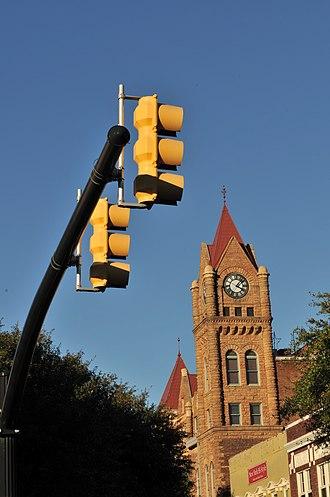 Sumter Town Hall-Opera House - Opera House clock tower, January 2013