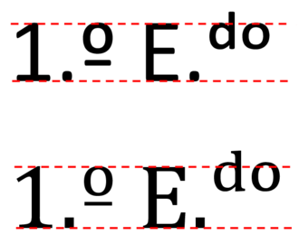 """Ordinal indicator - Alignment of the ordinal indicator (left) and superscript characters (right), in the Portuguese abbreviation """"1.º E.ᵈᵒ"""" (1st floor left), in a monotone font and in a variable stroke width font."""