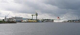 Oskarshamn Shipyard - Port of Oskarshamn with Oskarshamn Shipyard to the left.