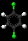 Pilk-kaj-bastona modelo de 1,4-dichlorobenzene