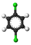 Ball-and-stick model of 1,4-dichlorobenzene