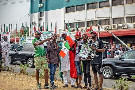 PDP Supporters during a Political rally at the Headquarters PDP supporters in Wadata plaza, Abuja3.jpg