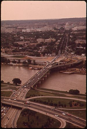 Barney Circle - The John Philip Sousa Bridge in 1973, with Barney Circle on the far side of the bridge and the Anacostia Freeway interchange in the foreground