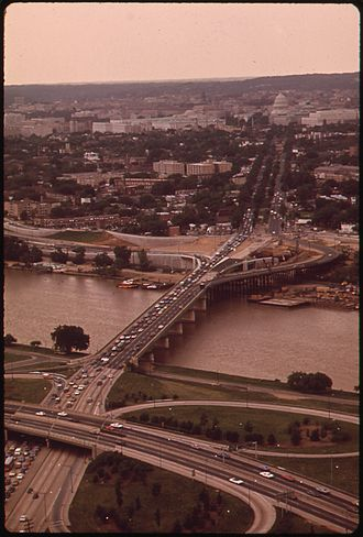 John Philip Sousa Bridge - The John Philip Sousa Bridge in 1973, with Barney Circle on the far side of the bridge and the Anacostia Freeway interchange in the foreground