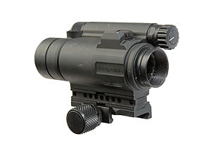 Aimpoint CompM4 - The shooter's end of the CompM4 with the power control knob