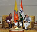 PM Modi meets Bhutanese PM Tshering Tobgay on the sidelines of the Vibrant Gujarat summit.jpg