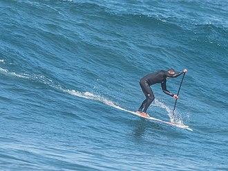 Standup paddleboarding - Paddle surfing at Playa de Las Canteras, Las Palmas, Gran Canaria, 2018