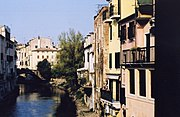 "Tronco Maestro Riviera: a pedestrian walk along a section of the ""inland waterway"" or naviglio interno of Padua."