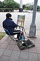 Painter in Sidewalk of Ketagalan Blvd 20150210.jpg