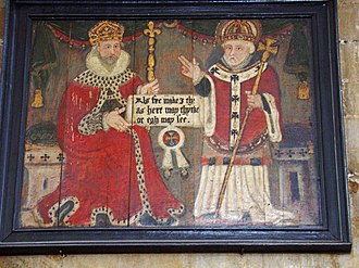 Æthelstan - A sixteenth-century painting in Beverley Minster of Æthelstan with Saint John of Beverley