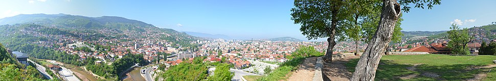 """A panoramic view of Sarajevo valley from """"Yellow Bastion"""" (Žuta tabija) lookout, spring 2012."""