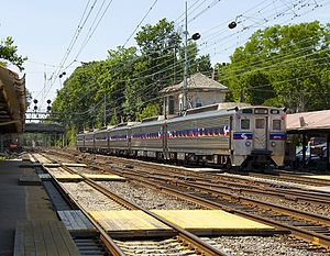 Lower Merion Township, Pennsylvania - A westbound Paoli/Thorndale Line train departing from the Bryn Mawr Station