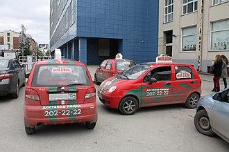Papa John's Pizza - Papa John's delivery cars in Novosibirsk, Russia.