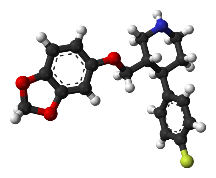 The x-ray crystallography structure of paroxetine, a commonly prescribed selective serotonin reuptake inhibitor for the treatment of panic disorder. Source: Ibers, J. A. (1999). Acta Crys C55.