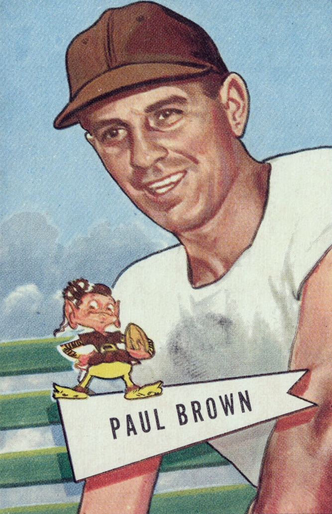 Brown wearing a brown baseball cap on a 1952 Bowman football card