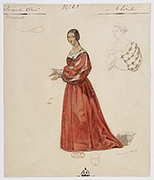 costume design for young woman in medieval dress