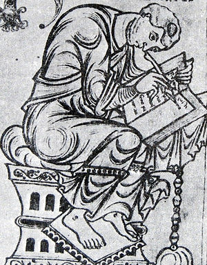 Orosius - Paulus Orosius, shown in a miniature from the Saint-Epure codex.