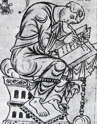 Orosius - Paulus Orosius, shown in a miniature from the Saint-Epure codex.