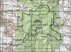 Pecos Wilderness - Image: Pecos wilderness map