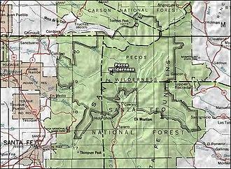 Pecos Wilderness - Image: Pecos wilderness map