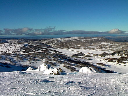 Perisher Valley, from near the summit of Mount Perisher. Perisher from Mount Perisher.jpg
