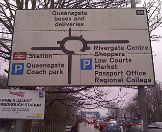 Road transport in Peterborough - A numbered roundabout sign in Peterborough.