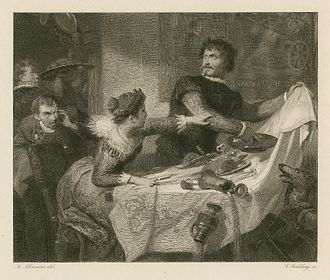 Fr. Schwoerer illustration of Act 4, Scene 1 (Petruchio rejects the bridal dinner). Engraved by Georg Goldberg (c.1850). Petruchio ruins dinner.jpg