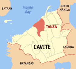 Map of Cavite showing the location of Tanza