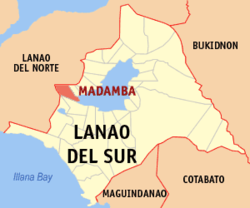 Map of Lanao del Sur with Madamba highlighted