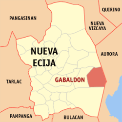 Map of Nueva Ecija showing the location of Gabaldon