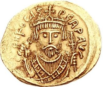 Byzantine–Sasanian War of 602–628 - A gold coin of the Emperor Phocas
