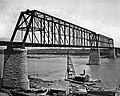 Photocopy from George S. Morison's The Plattsmouth Bridge, 1882. Photographer unknown, circa 1880. SOUTH WEB AND WEST PORTAL OF BRIDGE - Plattsmouth Bridge, Spanning Missouri HAER NEB,13-PLATT.V,1-1 - cut.jpg
